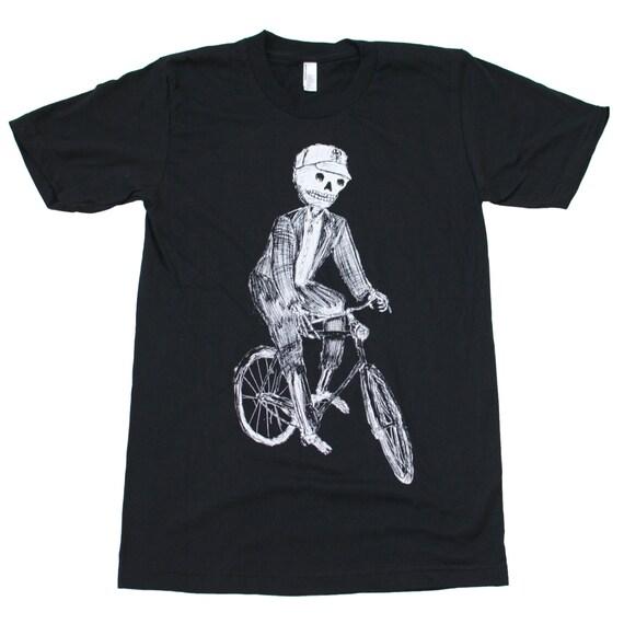 Sugar Skull Skeleton on a Bicycle | Screen printed men's tee