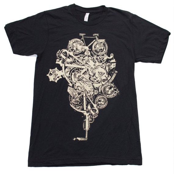 Mens Steampunk Art Bike Print Bicycle Machine - Short Sleeved American Apparel Black TShirt