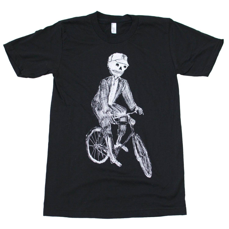 sugar skull skeleton on a bicycle screen printed mens