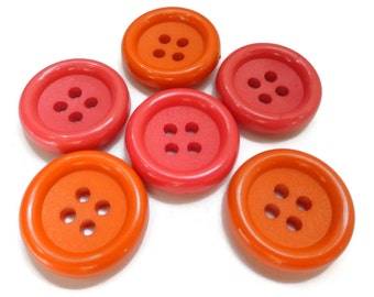 6 Vintage Buttons in Raspberry or Tangerine - Your Choice of Sizes 5/8, 3/4 or 7/8 inch for Jewelry Beads Sewing Knitting