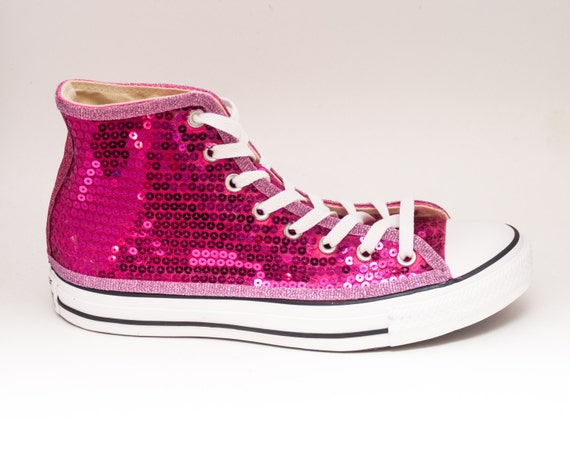 sequin fuchsia pink converse all hi top by