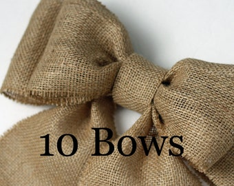 Burlap Pew Bows (10) Natural Burlap Large Double Bow Set Rustic Country Chic Handmade Wedding Decor Chair Bow
