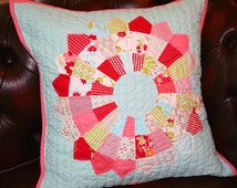 Hand Quilted Patchwork Pillow Cushion Dresden Plate Bonnie and Camille fabric sale