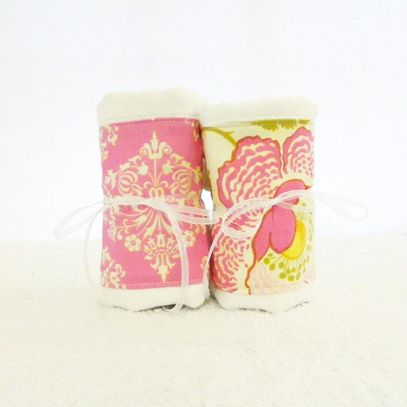 Girl Burp Cloths - Flowers Burp Cloth // Diaper Burp Cloths- set of 2 // Cotton Burp Cloths // Yellow Pink Burp Cloth // Baby Shower Gift
