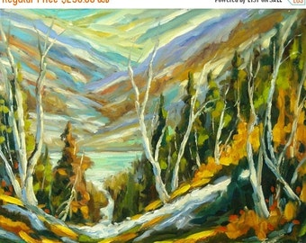 On Sale River of Life Original Abstract Landscape - Oil Painting Created by Prankearts