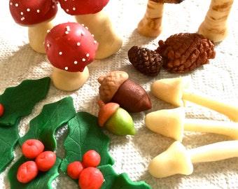 Woodland marzipan-buche de noel marzipans-christmas marzipan-yule logs-buche de noels-yule log decorations-marzipan-holiday marzipan