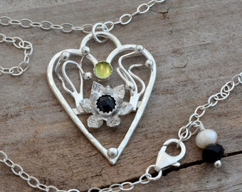 Sterling silver heart flower blossom peridot onyx pendant necklace genuine semiprecious stone jewelry unusual romantic love artisan handmade