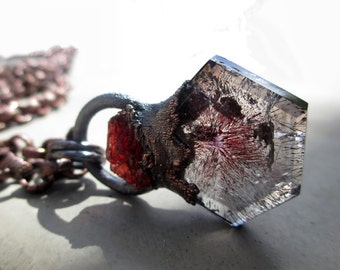 CUSTOM MADE for SILVIA A., Magical Crystal Amulet with Super Seven and Spessartine, Melody Stones, Sacred Seven, Tribal, Shamanic
