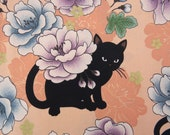 2665A -- Floral Cat Fabric in Peach, Flower Metallic Print Fabric, Animal Fabric, Floral Fabric
