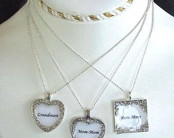 Handmade Grandmother Necklaces Heart or Square with Chain Grandmom Mom-Mom Nana