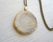 SALE - Natural Crystal Agate Slice Pendant Necklace