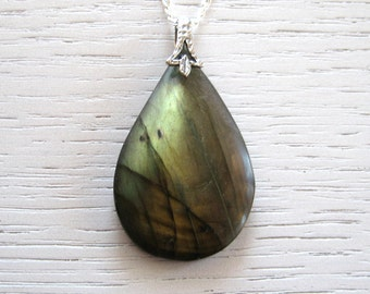 SALE - Mysterious Green and Bronze Teardrop Shaped Labradorite Pendant Necklace with Sterling Silver Chain