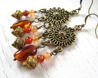 Baltic Amber and Carnelian Bohemian Dangle Earrings
