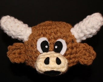 Longhorn steer hat for newborn - very cute and unique handmade animal hat  - Currently made to order