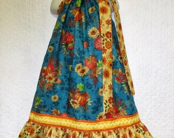 FALL Girls Dress 6/7 Aqua Gold Orange Sparkle Pumpkins Flowers Boutique Pillowcase Dress, Pillow Case Dress, Sundress