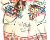 Vintage Birthday Card Apron with Kittens