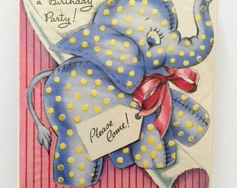 Vintage Children's Birthday Party Invitations Blue Polk Dot Elephant Bunny Rabbit