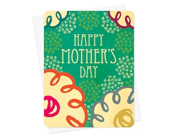 loopy flowers real wood mother's day card - unique keepsake card for mom - wc887