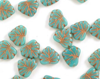 Opaque Turquoise Blue with Copper Maple Leaf Czech Glass Beads 13mm - 10