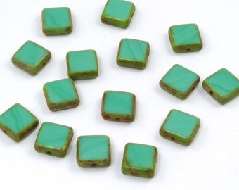 Opaque Green Turquoise Picasso Square Czech Glass Beads 11mm - 15