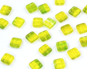 Lemon Lime Yellow and Green Square Czech Glass Tile Beads 9mm - 25