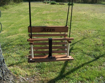 Personalized toddler swing stained childs swing