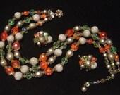Vintage Vendome glass Bead triple strand Necklace & Earrings