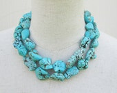 "Chunky Turquoise Necklace,  Chunk Nugget Necklace Double Strand Statement ""Megan""  , Fox"