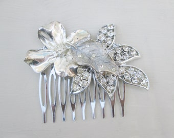 Silver Vintage Dogwood Flower  Leaf Rhinestone Hair Comb