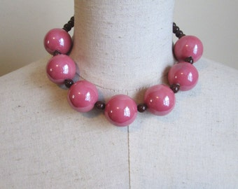 Super Chunky Rose Pink Brown Beaded Necklace, Big Round Beads