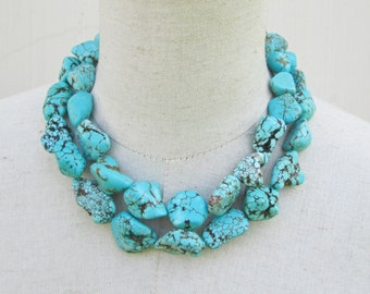 "Chunky Turquoise Necklace,  Chunk Nugget Necklace Double Strand Statement ""Megan""  Fox"