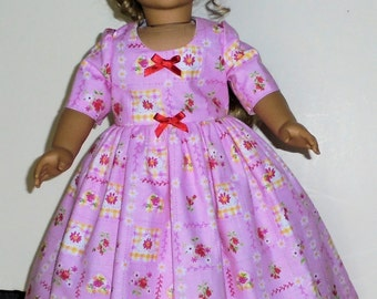 Colonial work  Dress designed for American Girl Felicity,Elizabeth or Kirsten 2 pc.. No. 681