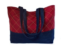 SALE! the paris tote bag - denim and burgundy sateen with gold topstitching in a windowpane check, ready to ship mother's day gift