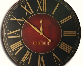OVERSIZED WALL CLOCK 36in Churchill Fox-Hand painted-Custom Clock-Family Heirloom-Free Inscription