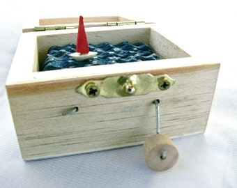kinetic sailboat art, automaton, small wooden box, nautical decor, beach art, ocean decor, man cave decor