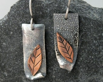 Mixed Metal Earrings- Sterling Silver and Copper Leaves