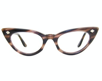 Vintage Glasses 50s Cat Eye Eyeglasses Frame with Leaf Accents Small