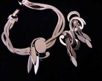 Vintage 1950s MONET Silver Slide Bracelet & Matching Dangle Earrings