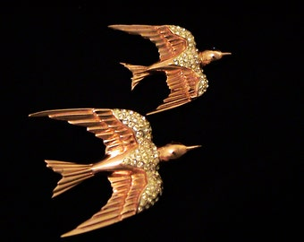 """Beautiful 1940s COROCRAFT Sterling Vermeil """"Heavenly Swallows"""" Bird Brooches, Book Piece"""