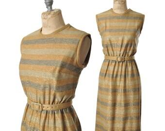 "vintage 60s dress / metallic striped lurex dress / 1960s dress .. 25"" waist"