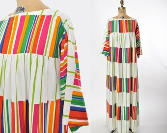 vintage 1970s Marimekko Dress / Design Research 1973 Kirjo Striped dress / 70s dress.. small