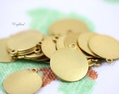 Round Brass Logo Tags 14mm ONE Ring - 8