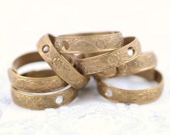 Vintage Adjustable Patterned Ring Blank - 6