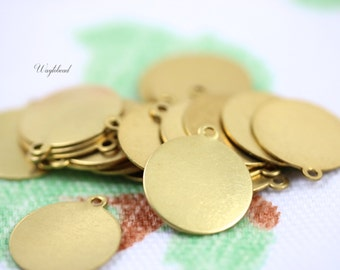 Round Brass Logo Tags 14mm ONE Ring - 12