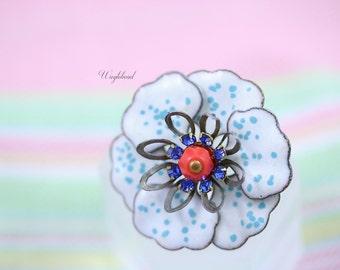 Vintage Multilayer Enamel Flower Sapphire Swarovski Crystal Rhinestone Czech Bead Red White Turquoise