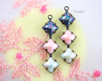 Vintage Glass Square Stone 1 Ring Set Stones Antique Brass Prong Settings 30x8mm AB Dark Blue, AB Pink & AB Light Green - 2