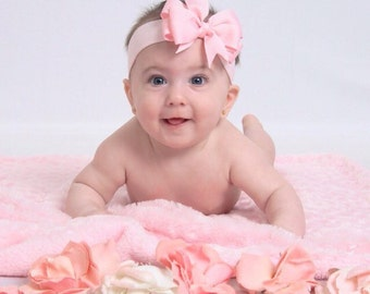 Sweet and Simple Light Pink Bow Baby to Girl Headband or Pick ANY COLOR