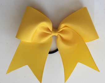 Yellow Girls Cheer Bow Softball Bow Ponytail Holder