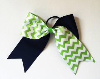 Big 3 inch Navy and Lime Green Chevron Print Girls softball Bow Ponytail Holder