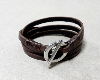 Brown Wrap Leather Bracelet Leather Cuff Bracelet with Metal Toggle Clasp